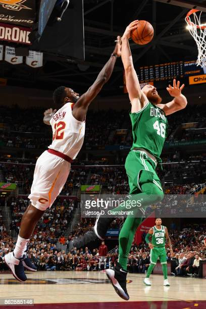 Aron Baynes of the Boston Celtics goes to the basket against the Cleveland Cavaliers on October 17 2017 at Quicken Loans Arena in Cleveland Ohio NOTE...