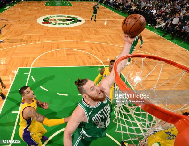 Aron Baynes of the Boston Celtics goes up for the dunk during the game against the Los Angeles Lakers on November 8 2017 at the TD Garden in Boston...