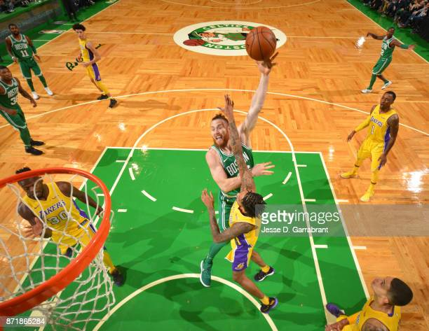 Aron Baynes of the Boston Celtics goes up for the hook shot during the game against the Los Angeles Lakers on November 8 2017 at the TD Garden in...