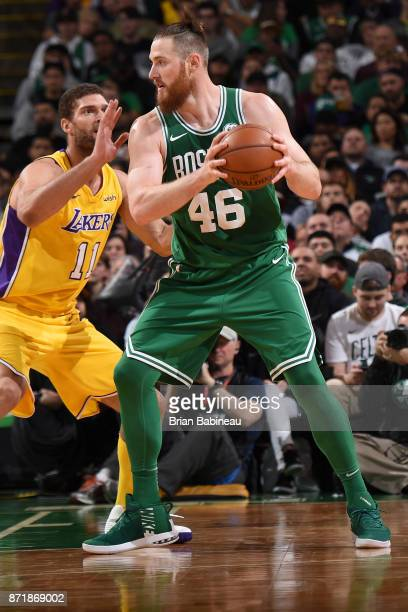 Aron Baynes of the Boston Celtics handles the ball against the Los Angeles Lakers on November 8 2017 at the TD Garden in Boston Massachusetts NOTE TO...