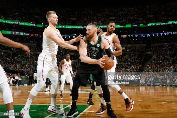 Aron Baynes of the Boston Celtics handles the ball against the Indiana Pacers on March 11 2018 at the TD Garden in Boston Massachusetts NOTE TO USER...