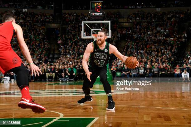 Aron Baynes of the Boston Celtics handles the ball against the Portland Trail Blazers on February 4 2018 at the TD Garden in Boston Massachusetts...