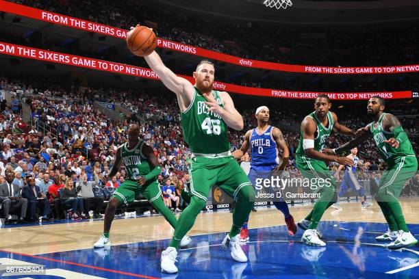 Aron Baynes of the Boston Celtics handles the ball during the game aPhiladelphia 76ers on October 20 2017 at Wells Fargo Center in Philadelphia...