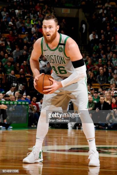 Aron Baynes of the Boston Celtics handles the ball during the game against the Memphis Grizzlies on February 26 2018 at the TD Garden in Boston...