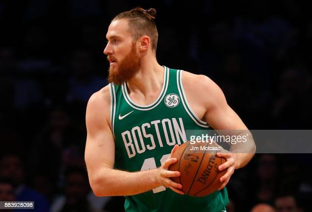 Aron Baynes of the Boston Celtics in action against the Brooklyn Nets at Barclays Center on November 14 2017 in the Brooklyn borough of New York City...