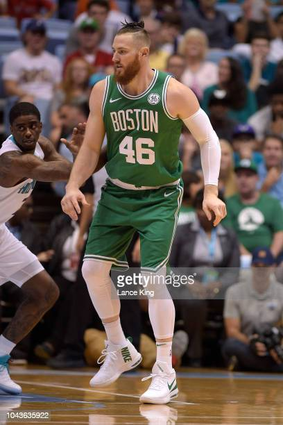 Aron Baynes of the Boston Celtics in action against the Charlotte Hornets in the first quarter of a preseason game at Dean Smith Center on September...