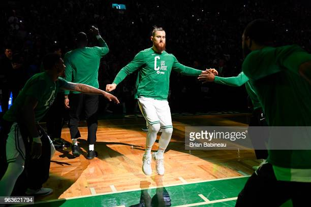 Aron Baynes of the Boston Celtics is introduced prior to Game Seven of the Eastern Conference Finals of the 2018 NBA Playoffs against the Cleveland...