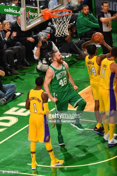 Aron Baynes of the Boston Celtics is pumped up after the play during the game against the Los Angeles Lakers on November 8 2017 at the TD Garden in...
