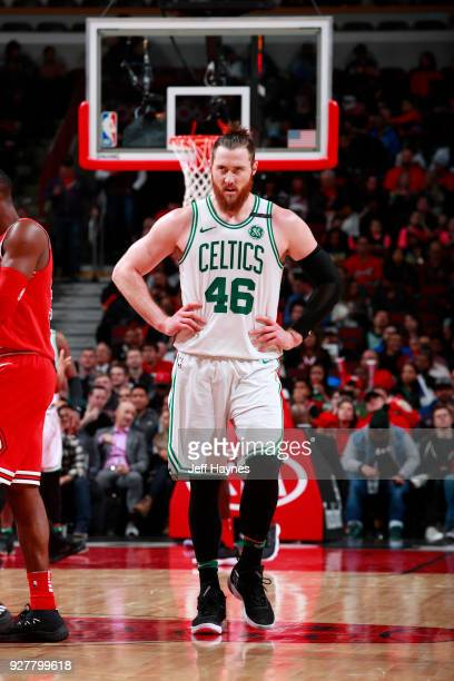 Aron Baynes of the Boston Celtics looks on during the game against the Chicago Bulls on March 5 2018 at the United Center in Chicago Illinois NOTE TO...