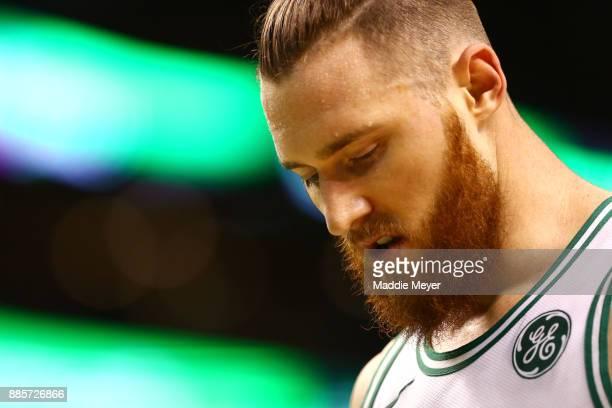 Aron Baynes of the Boston Celtics looks on during the second quarter against the Milwaukee Bucks at TD Garden on December 4 2017 in Boston...