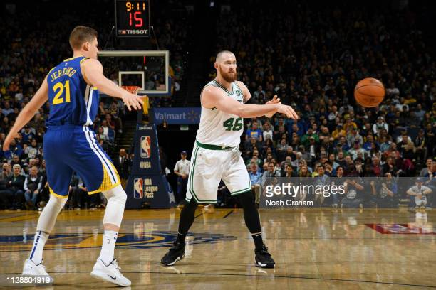 Aron Baynes of the Boston Celtics passes the ball against the Golden State Warriors on March 5 2019 at ORACLE Arena in Oakland California NOTE TO...