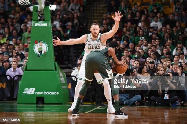 Aron Baynes of the Boston Celtics plays defense against the Milwaukee Bucks on December 4 2017 at the TD Garden in Boston Massachusetts NOTE TO USER...