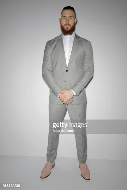 Aron Baynes of the Boston Celtics poses for a portrait during the NBA Awards Show on June 25 2018 at the Barker Hangar in Santa Monica California...
