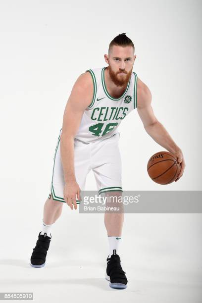 Aron Baynes of the Boston Celtics poses for a portrait during the 201718 NBA Media Day on September 25 2017 at the TD Garden in Boston Massachusetts...
