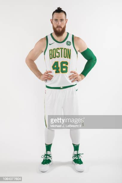 Aron Baynes of the Boston Celtics poses for a portrait in the new Nike city edition uniforms on October 29 2018 at TD Garden in Boston Massachusetts...