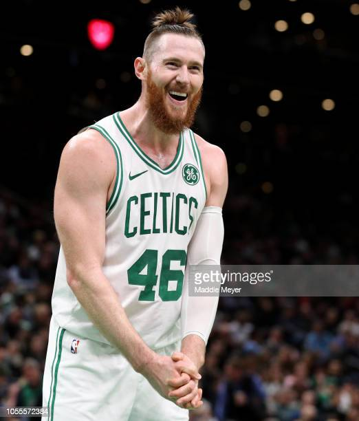 Aron Baynes of the Boston Celtics reacts after a foul is called against him during the first half of the game against the Detroit Pistons at TD...