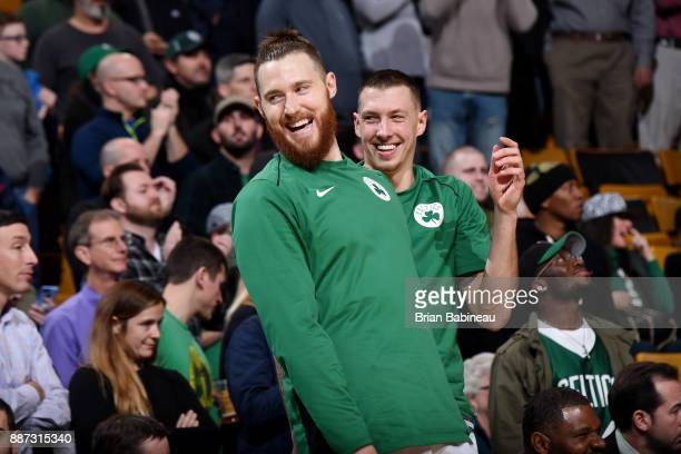 Aron Baynes of the Boston Celtics reacts after the game against the Dallas Mavericks on December 6 2017 at the TD Garden in Boston Massachusetts NOTE...