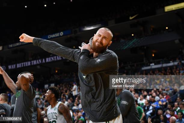 Aron Baynes of the Boston Celtics reacts against the Golden State Warriors on March 5 2019 at ORACLE Arena in Oakland California NOTE TO USER User...