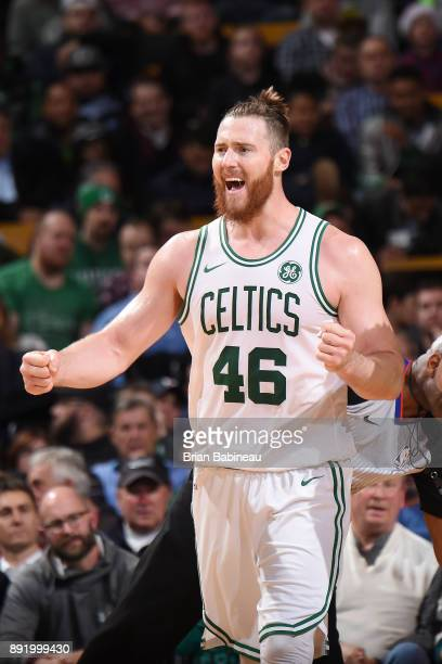 Aron Baynes of the Boston Celtics reacts during the game against the Denver Nuggets on December 13 2017 at the TD Garden in Boston Massachusetts NOTE...