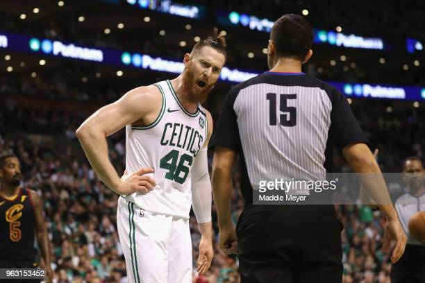 Aron Baynes of the Boston Celtics reacts to a call in the first half against the Cleveland Cavaliers during Game Seven of the 2018 NBA Eastern...