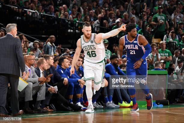Aron Baynes of the Boston Celtics reacts to a play during the game against the Philadelphia 76ers on October 16 2018 at the TD Garden in Boston...