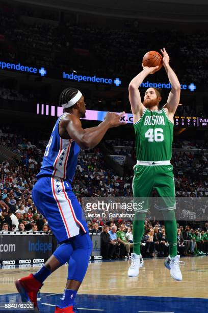 Aron Baynes of the Boston Celtics shoots the ball against the Philadelphia 76ers during the game on October 20 2017 at Wells Fargo Center in...