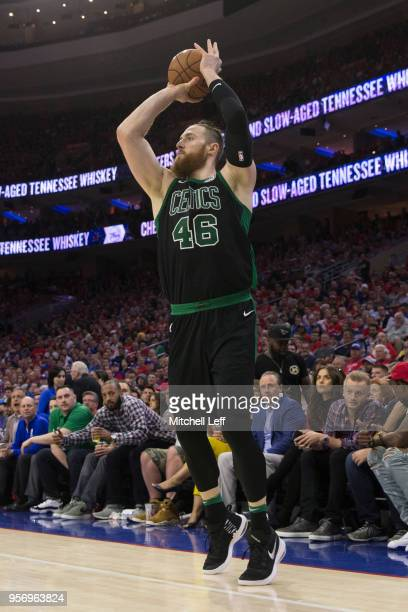 Aron Baynes of the Boston Celtics shoots the ball against the Philadelphia 76ers during Game Four of the Eastern Conference Second Round of the 2018...