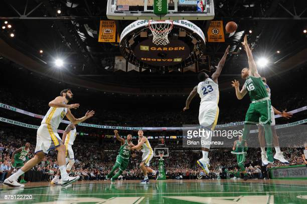 Aron Baynes of the Boston Celtics shoots the ball against the Golden State Warriors on November 16 2017 at the TD Garden in Boston Massachusetts NOTE...