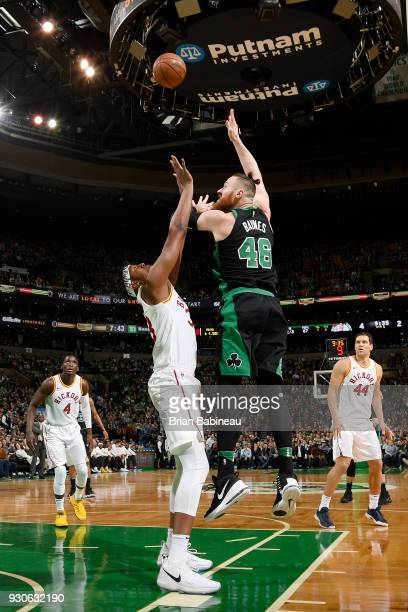 Aron Baynes of the Boston Celtics shoots the ball against the Indiana Pacers on March 11 2018 at the TD Garden in Boston Massachusetts NOTE TO USER...