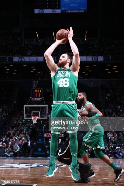 Aron Baynes of the Boston Celtics shoots the ball against the Brooklyn Nets on January 6 2018 at Barclays Center in Brooklyn New York NOTE TO USER...