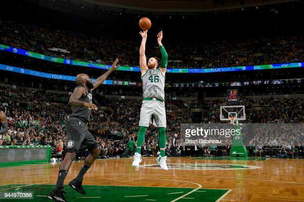 Aron Baynes of the Boston Celtics shoots the ball against the Brooklyn Nets on April 11 2018 at the TD Garden in Boston Massachusetts NOTE TO USER...
