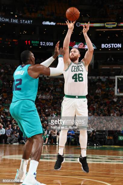 Aron Baynes of the Boston Celtics shoots the ball against the Charlotte Hornets on October 2 2017 at the TD Garden in Boston Massachusetts NOTE TO...