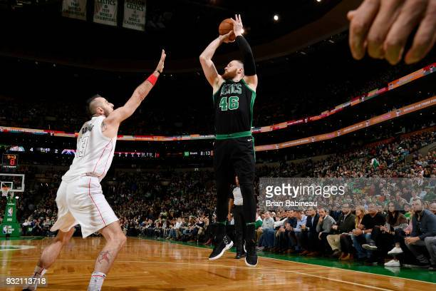 Aron Baynes of the Boston Celtics shoots the ball against the Washington Wizards on March 14 2018 at the TD Garden in Boston Massachusetts NOTE TO...