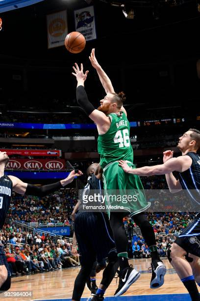Aron Baynes of the Boston Celtics shoots the ball against the Orlando Magic on March 16 2018 at Amway Center in Orlando Florida NOTE TO USER User...