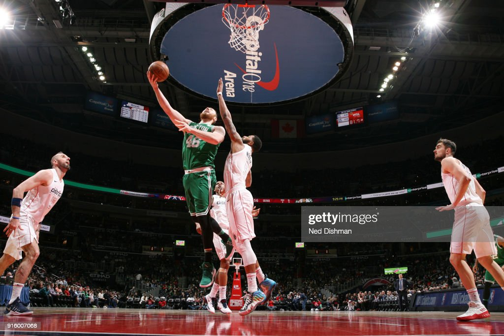 Aron Baynes #46 of the Boston Celtics shoots the ball during the game against the Washington Wizards on February 8, 2018 at Capital One Arena in Washington, DC.