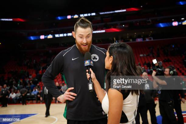 Aron Baynes of the Boston Celtics speaks with media after game against the Detroit Pistons on December 10 2017 at Little Caesars Arena in Detroit...