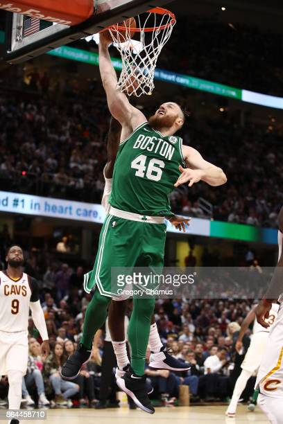 Aron Baynes of the Boston Celtics takes a shot while playing the Cleveland Cavaliers at Quicken Loans Arena on October 17 2017 in Cleveland Ohio NOTE...