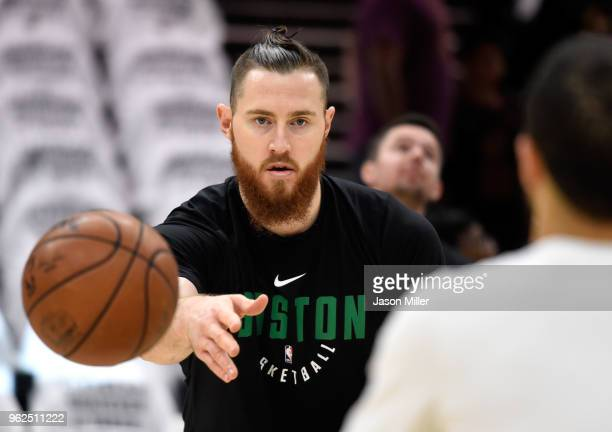 Aron Baynes of the Boston Celtics warms up before Game Six of the 2018 NBA Eastern Conference Finals against the Cleveland Cavaliers at Quicken Loans...