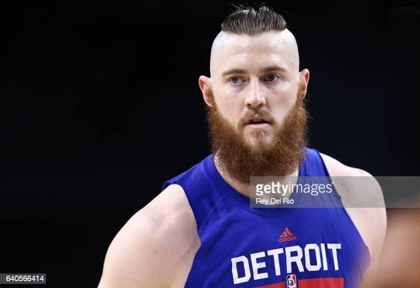 Aron Baynes of the Detroit Pistons during warmup prior to the game against the Atlanta Hawks at the Palace of Auburn Hills on January 18 2017 in...