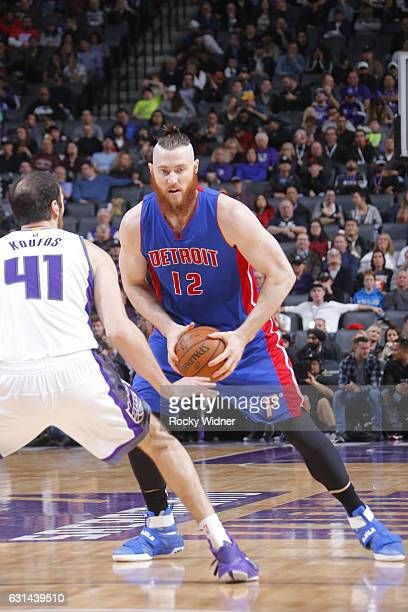 Aron Baynes of the Detroit Pistons handles the ball against the Sacramento Kings on January 10 2017 at Golden 1 Center in Sacramento California NOTE...