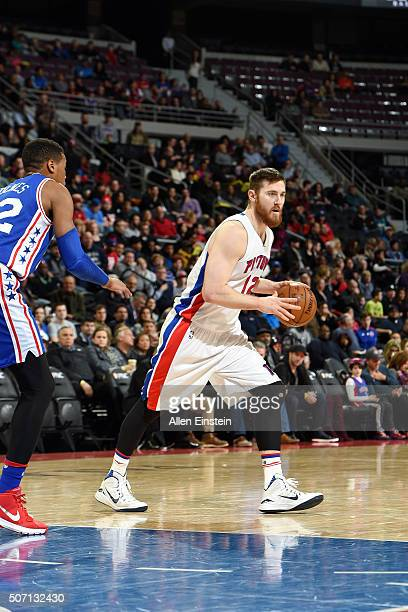 Aron Baynes of the Detroit Pistons handles the ball during the game against the Philadelphia 76ers on January 27 2016 at The Palace of Auburn Hills...