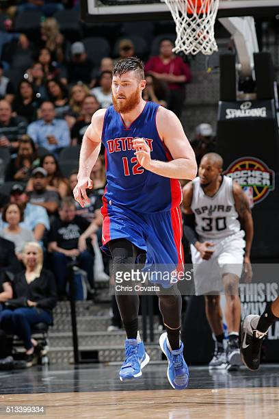 Aron Baynes of the Detroit Pistons is seen during the game against the San Antonio Spurs on March 2 2016 at the ATT Center in San Antonio Texas NOTE...