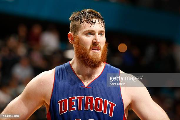 Aron Baynes of the Detroit Pistons is seen during the game against the Charlotte Hornets during the game at the Time Warner Cable Arena on March 11...