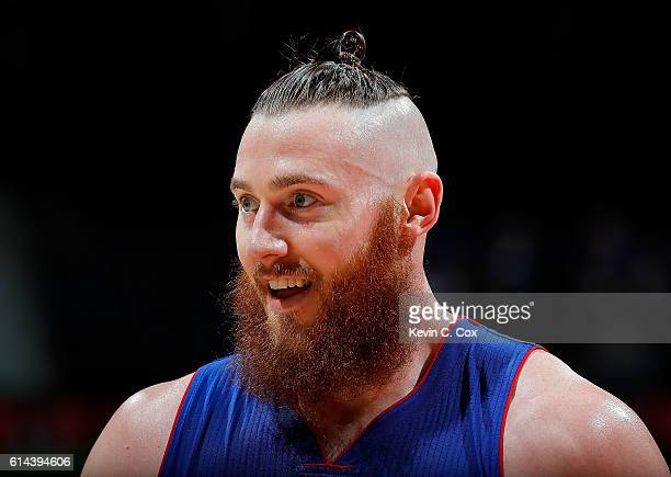 Aron Baynes of the Detroit Pistons looks on during the game against the Atlanta Hawks at Philips Arena on October 13 2016 in Atlanta Georgia NOTE TO...