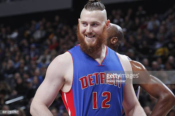 Aron Baynes of the Detroit Pistons looks on during the game against the Sacramento Kings on January 10 2017 at Golden 1 Center in Sacramento...
