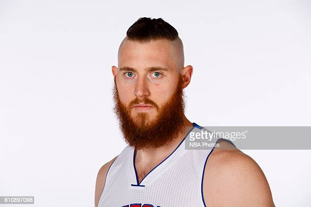 Aron Baynes of the Detroit Pistons poses for a photo during the 20162017 Detroit Pistons media day on September 26 2016 in Auburn Hills MI NOTE TO...
