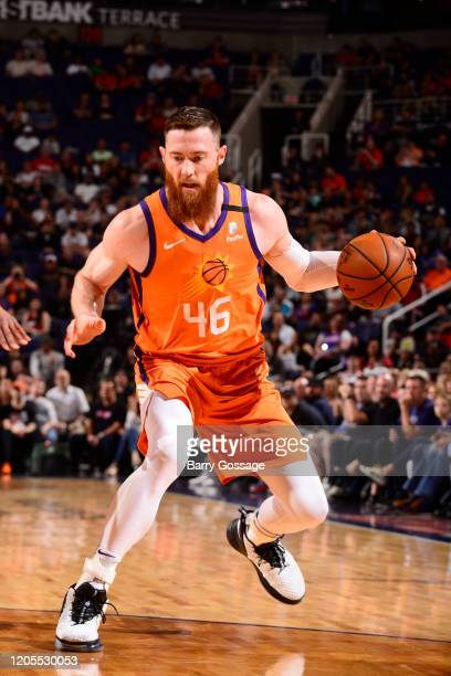 Aron Baynes of the Phoenix Suns handles the ball against the Portland Trail Blazers on March 6 2020 at Talking Stick Resort Arena in Phoenix Arizona...