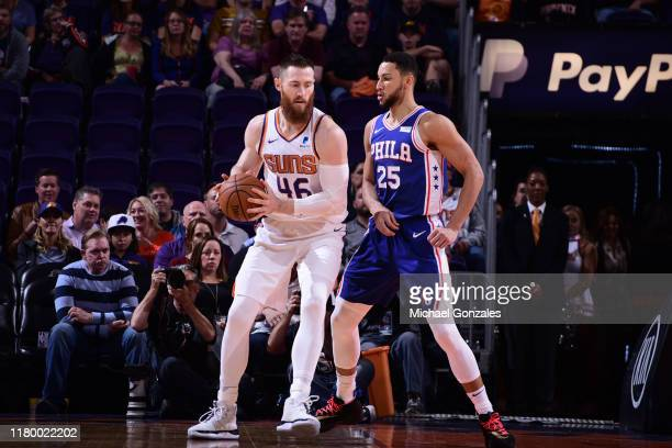 Aron Baynes of the Phoenix Suns handles the ball /H/ on November 4 2019 at Talking Stick Resort Arena in Phoenix Arizona NOTE TO USER User expressly...
