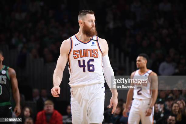 Aron Baynes of the Phoenix Suns looks on during a game against the Boston Celtics on January 18, 2020 at the TD Garden in Boston, Massachusetts. NOTE...