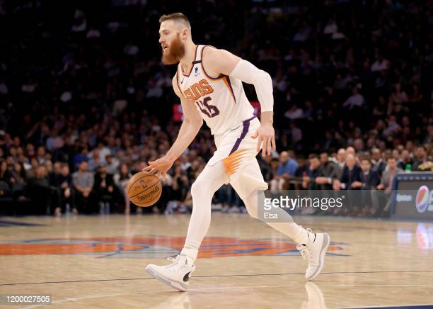 Aron Baynes of the Phoenix Suns moves the ball in the second half against the New York Knicks at Madison Square Garden on January 16 2020 in New York...